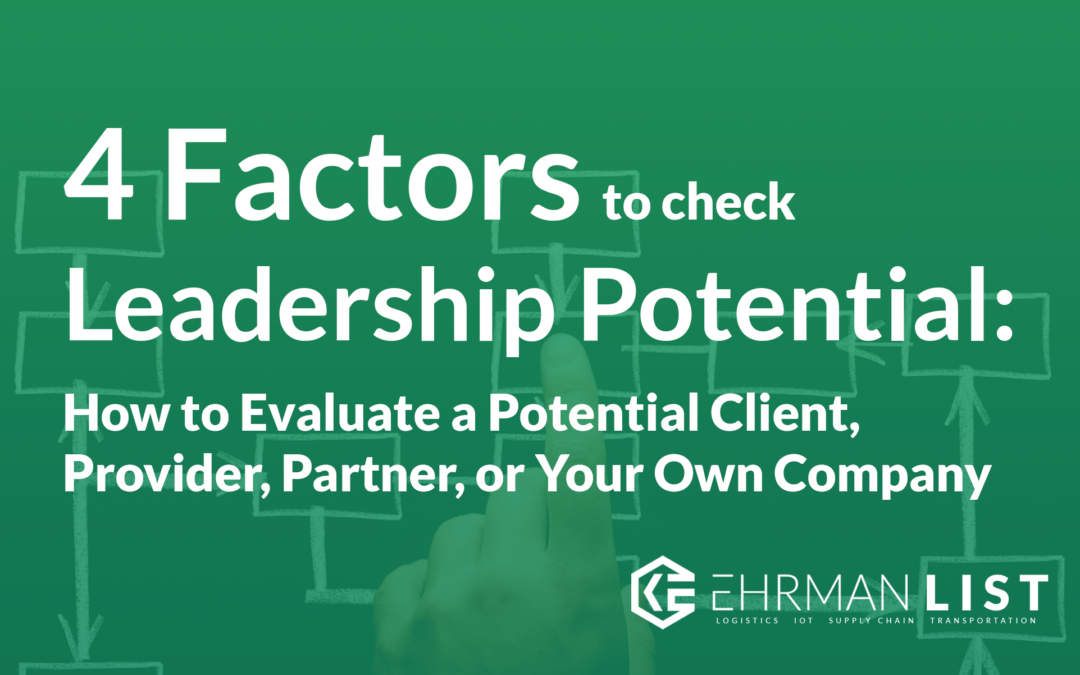 4 Factors to Consider to Check Leadership Potential: How to Evaluate a Potential Client, Provider, Partner, or Your Own Company